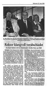 Dr. Karl Schütz, Verabschiedung